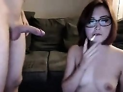 Attractive geek girl receiving her vagina fingered and bang