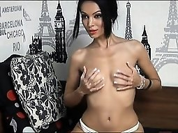 Attractive brunette girl on cam stripteasing humor