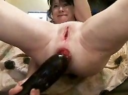 Incredible anal prolapse and eggplant insertion by my horny wife
