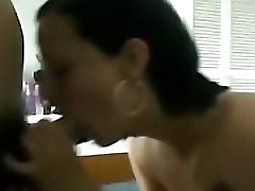 Skinny brunette masturbating girl plays with her small tits makes-out with her bf and blows her..