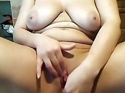 My wife with saggy tits loves to masturbate in front of a cyber fuck