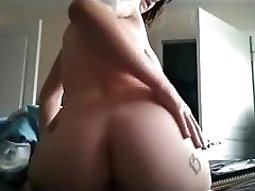 Buttplug selfie from my inked gf while she rubs one off