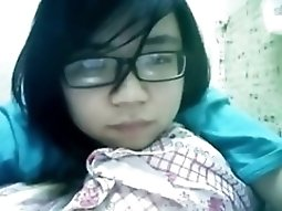 Nerdy japanese porn Girl Has Cybersex With Her BF On Skype
