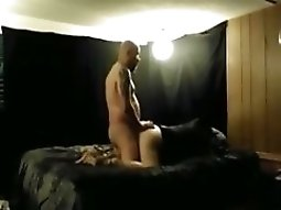 Bald Guy Fucks His GF Doggystyle And Eats Out Her Pussy