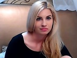 Voluptuous blonde hottie is on live cam taking off her clot
