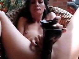 Huge black dildo drilling pussy brunette