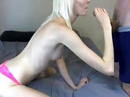 Blonde Camgirl Gives Sexy Blowjob and Gets Fucked Hard With Cum Facial