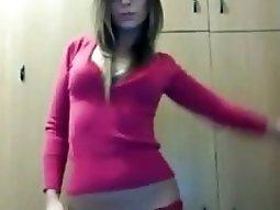 Nerdy girl taking off her lingerie
