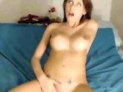 Busty and horny babe Masturbation hard with a dildo