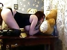 Busty teenie With Bunny Outfit Sucks The Strapon Of Her Teddybear