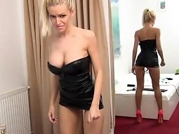 BigTits Blonde Leather Dress Dancing #2