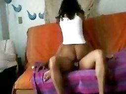 Colombian pussy teenie With Great Ass Sucks And Rides Her BF On The Sofa