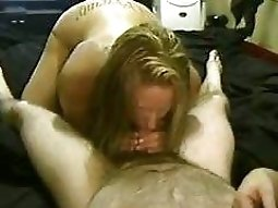 hot naked girls gives her man a pov dick sucking on the waterbed