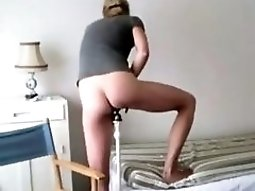 French Girl Lubes Up Her Pussy And Fucks The Bedpost