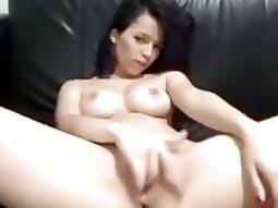 Pretty sweet girl self anal on her webcam