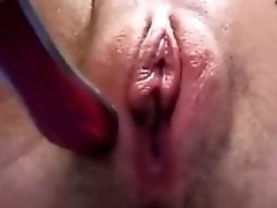Girl Masturbates Her fingering pussy Wet Pussy Closeup With A Toothbrush
