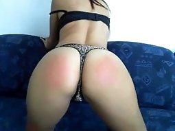 Hot brunette webcam girl spanks herself