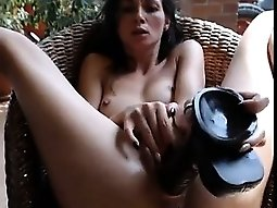 Small Tits Teen Plays With Huge Dildo On Cam