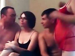 Nerdy foursome groupsex deep fuck