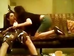 girl makes a sextape with her bf on the sofa